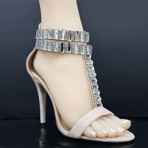 "Nude Rhinestone T Strap 4.25"" High Heel Shoes"